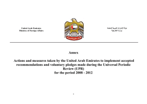 Annex Actions and measures taken by the United Arab Emirates to... recommendations and voluntary pledges made during the Universal Periodic