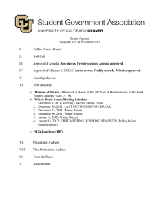 Senate Agenda Friday the 16 of December 2011