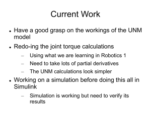 Current Work model Redo-ing the joint torque calculations