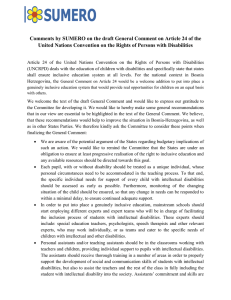Comments by SUMERO on the draft General Comment on Article... United Nations Convention on the Rights of Persons with Disabilities