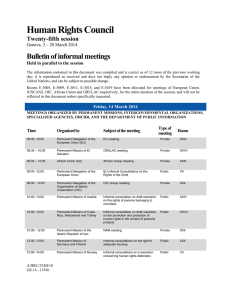 Human Rights Council Bulletin of informal meetings Twenty-fifth session