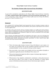 The situation of human rights of persons living with albinism  QUESTIONNAIRE