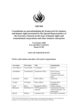 OHCHR Consultation on operationalizing the framework for business