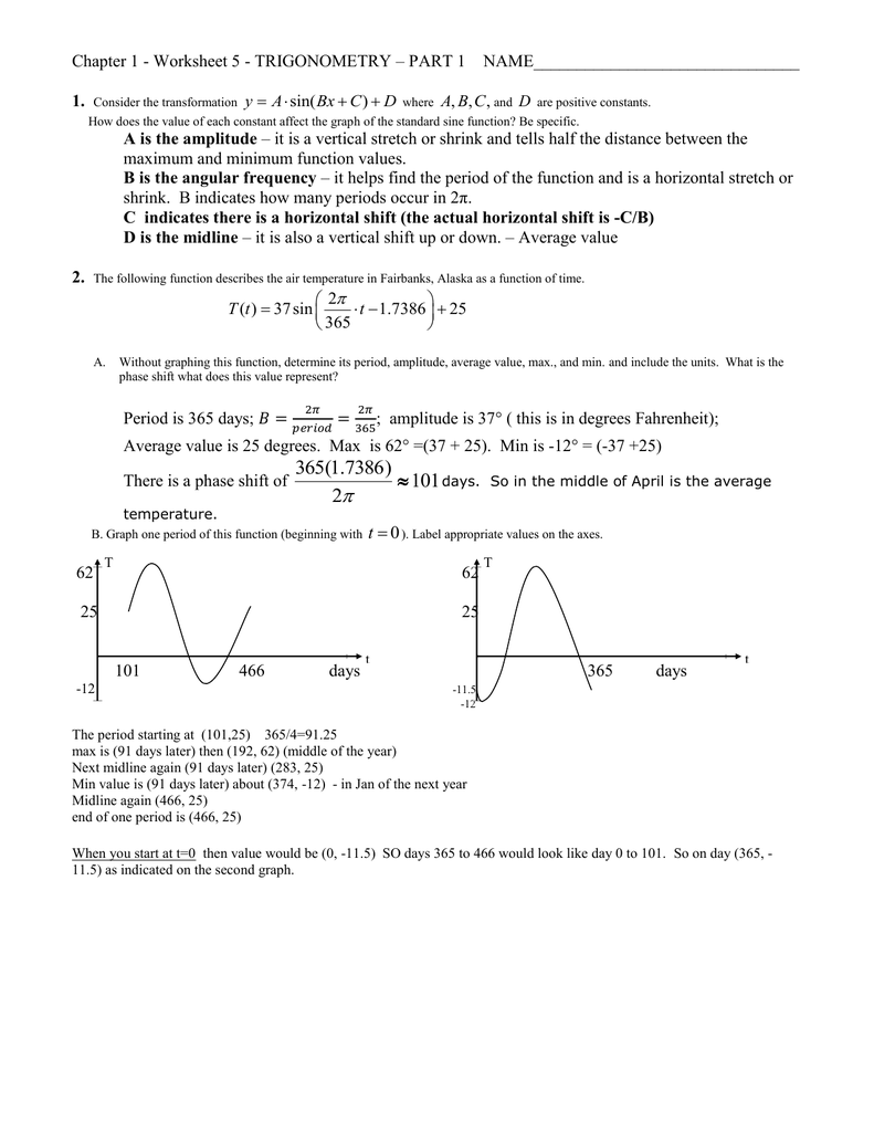 Chapter 1 Worksheet 5 Trigonometry Part 1 1 Sin