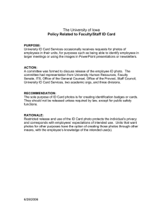 Policy Related to Faculty/Staff ID Card The University of Iowa