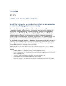 2 December Identifying options for international coordination and regulation