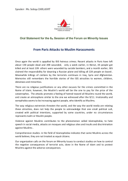 From Paris Attacks to Muslim Harassments Oral Statement for the 8