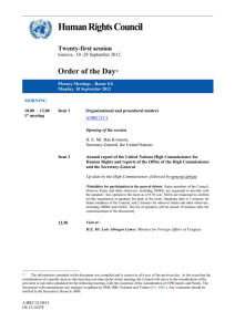 Human Rights Council  Order of the Day Twenty-first session