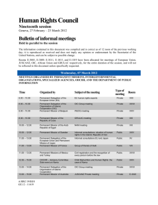 Human Rights Council Bulletin of informal meetings Nineteenth session