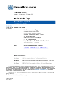Human Rights Council  Order of the Day Ninteenth session