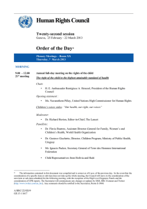 Human Rights Council  Order of the Day Twenty-second session