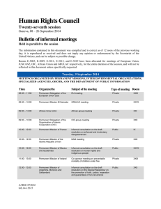 Human Rights Council Bulletin of informal meetings Twenty-seventh session