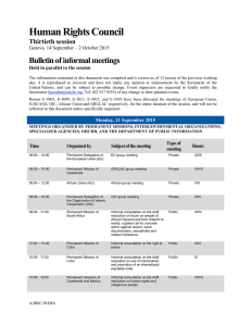 Human Rights Council Bulletin of informal meetings Thirtieth session
