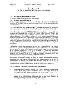 5.0  Section V Rules Relating To Attending The University