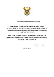 STATEMENT DELIVERED BY SOUTH AFRICA OPEN-ENDED INTERGOVERNMENTAL WORKING GROUP ON THE