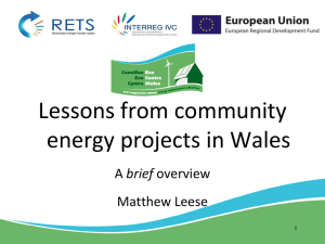 Lessons from community energy projects in Wales brief Matthew Leese