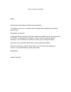 Print on School Letterhead  (Date)