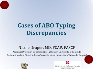 Cases of ABO Typing Discrepancies Nicole Draper, MD, FCAP, FASCP