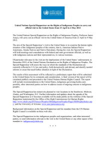 United Nations Special Rapporteur on the Rights of Indigenous Peoples... official visit to the United States from 23 April to...