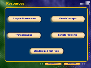 Resources Chapter Presentation Visual Concepts Sample Problems