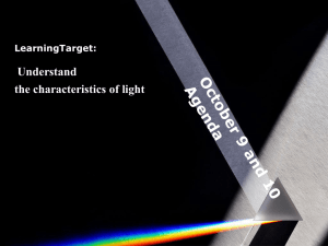 Understand the characteristics of light LearningTarget: