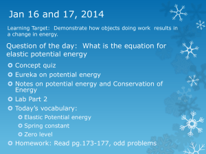 Jan 16 and 17, 2014 elastic potential energy