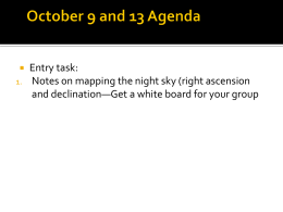 Entry task: Notes on mapping the night sky (right ascension