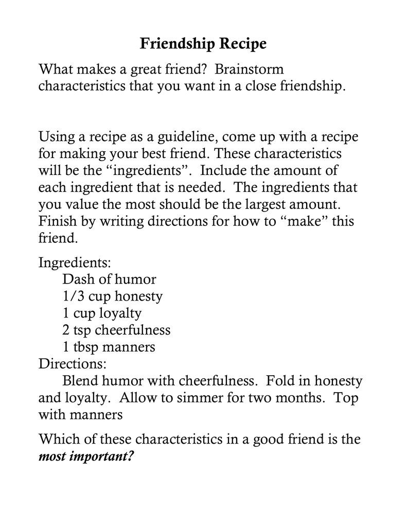characteristics of a good friend