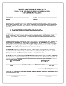 CAREER AND TECHNICAL EDUCATION FAMILY AND CONSUMER SCIENCES EDUCATION DEPARTMENT SYLLABUS