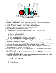 Study Guide for Chemistry Final Exam Semester Two 2015