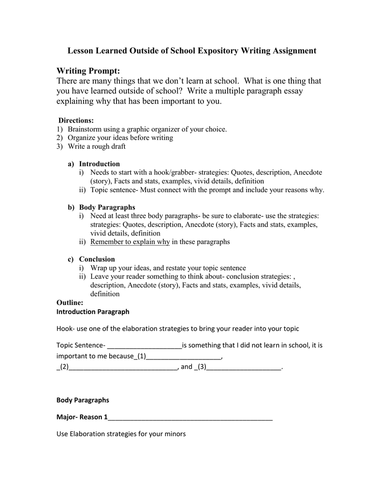 Lesson Learned Outside Of School Expository Writing Assignment Prompt