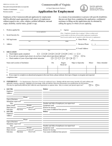 Application for Employment Commonwealth of Virginia
