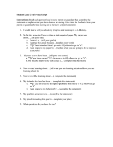 Student Lead Conference Script Instructions: