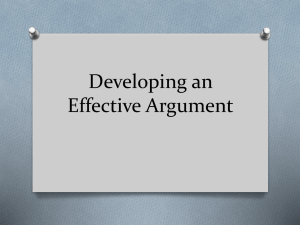 Developing an Effective Argument