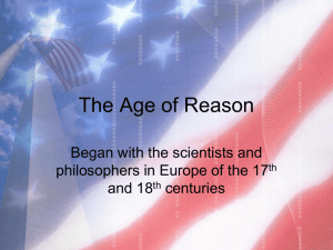 The Age of Reason Began with the scientists and and 18