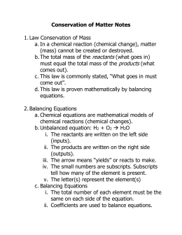 Conservation of Matter Notes  1. Law Conservation of Mass