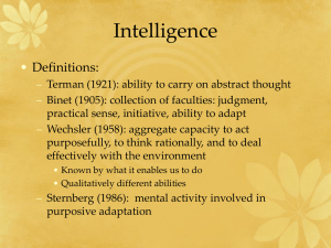 Intelligence • Definitions: