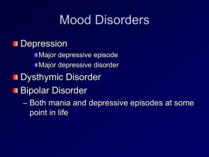 Mood Disorders Depression Dysthymic Disorder Bipolar Disorder