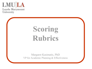Scoring Rubrics Margaret Kasimatis, PhD VP for Academic Planning & Effectiveness