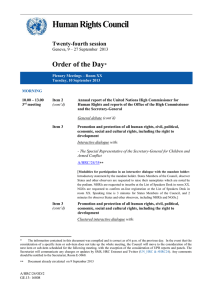 Human Rights Council  Order of the Day Twenty-fourth session