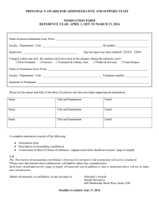 PRINCIPAL'S AWARD FOR ADMINISTRATIVE AND SUPPORT STAFF NOMINATION FORM