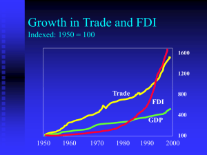 Growth in Trade and FDI Indexed: 1950 = 100 Trade