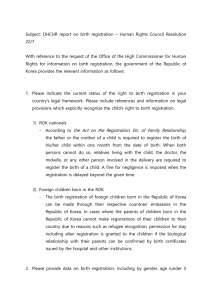 Subject: OHCHR report on birth registration  – Human Rights... 22/7  With reference to the request of the Office of the...