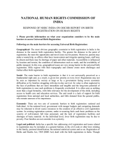 NATIONAL HUMAN RIGHTS COMMISSION OF INDIA REGISTRATION ON HUMAN RIGHTS