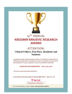 KRESIMIR KRNJEVIC RESEARCH AWARD 14 ANNUAL