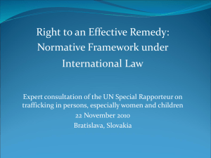 Right to an Effective Remedy: Normative Framework under International Law