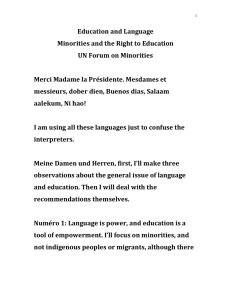 Education and Language Minorities and the Right to Education