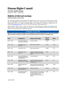 Human Rights Council Bulletin of informal meetings Twenty-ninth session