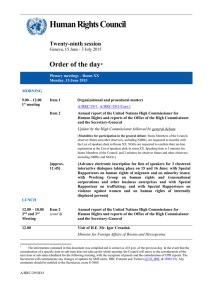 Human Rights Council  Order of the day Twenty-ninth session