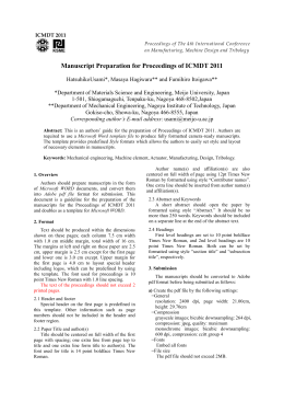 Manuscript Preparation for Proceedings of ICMDT 2011